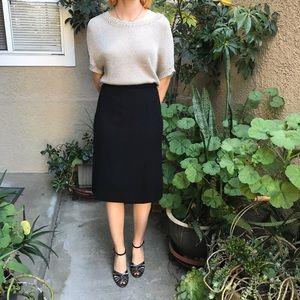 Vintage black Chanel wool pencil skirt